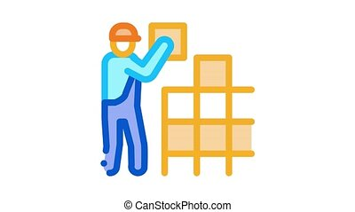 tile stacker Icon Animation. color tile stacker animated icon on white background