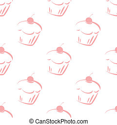 Tile vector cupcake pattern