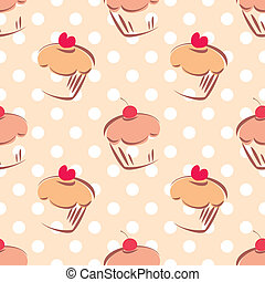 Tile vector cupcake polka dots