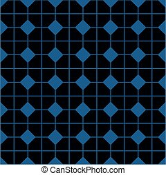 Tile vector pattern with black and blue background