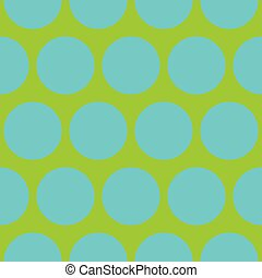 Tile vector pattern with blue polka dots on neon green background
