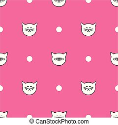 Tile vector pattern with cats and polka dots on pink background