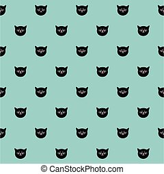 Tile vector pattern with cats on mint green background