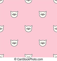 Tile vector pattern with cats on pink background
