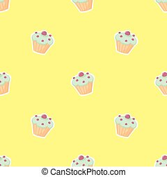 Tile vector pattern with cupcake