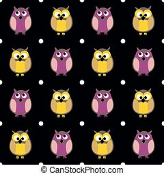 Tile vector pattern with owls and dots on black background