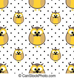 Tile vector pattern with owls and dots on grey background
