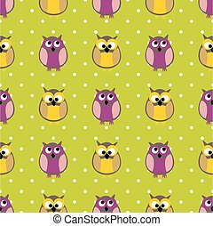 Tile vector pattern with owls and polka dots on green background