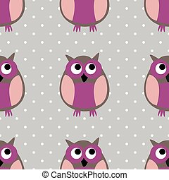 Tile vector pattern with owls and polka dots on grey background