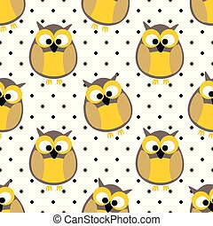 Tile vector pattern with owls and polka dots on white background