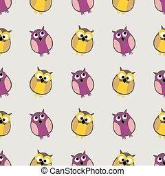 Tile vector pattern with owls on grey background