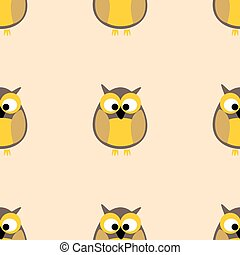 Tile vector pattern with owls on pastel background