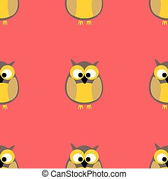 Tile vector pattern with owls on pink background