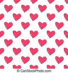 Tile vector pattern with pink hearts on white background