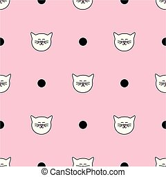 Tile vector pattern with white cats and black polka dots on pink background