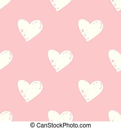 Tile vector pattern with white hearts on pink background