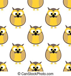 Tile vector pattern with yellow owls on white background