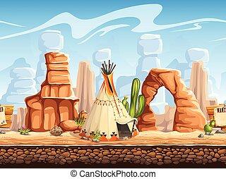 Tileable horizontal background wild west. Set2 - Tileable...