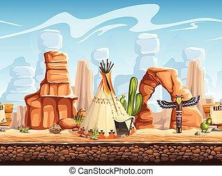 Tileable horizontal background wild west. Set3 - Tileable...