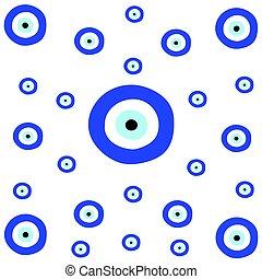 tileable, textura, com, grego, azul, olho mal