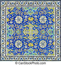 tiled background, oriental ornaments from Isfahan Mosque, ...