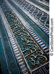 Tiled background, oriental ornaments from Uzbekistan Tiled backg
