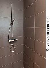 Tiled Bathroom Shower - Tiled bathroom shower with stone...