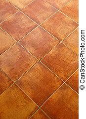Tiled floor - Closeup of square terracotta ceramic tile ...