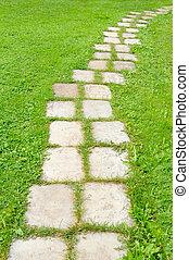 Tiled Garden Path in Green Grass