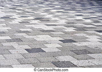 Tiled mosaic concrete pavement