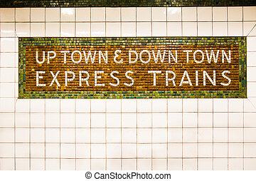 New York City subway train sign