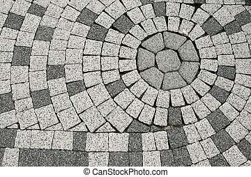 Tiled pavement - Sett blocks background texture. Tiled,...