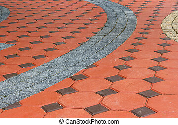 Tiled paving stones colorful pattern - Tiled paving stones...