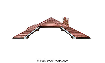 Tiled roof of a private house isolated on white.