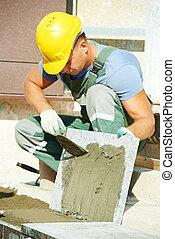 tiler, construcción, manera, granito, trabaja, escaleras