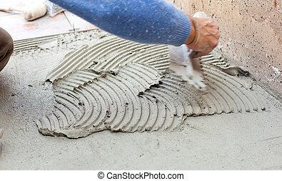 tiler, flooring., 仕事