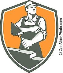 Tiler Plasterer Mason Trowel Shield Retro - Illustration of ...
