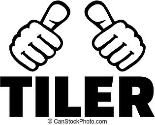 Tiler with thumbs. T-Shirt design.