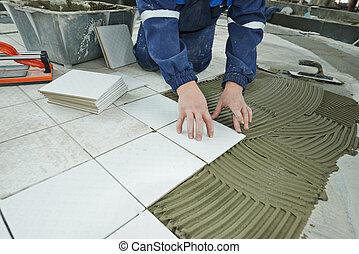 tilers, hos, industriel, gulv, beklædningen, renovation