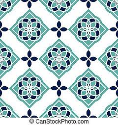 tiles., ポルトガル語, azulejo, patterns., 白, seamless, 素晴らしい, 青