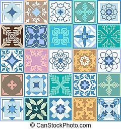 tiles., barnizado, cerámico, motifs., marroquí, portugués, ...