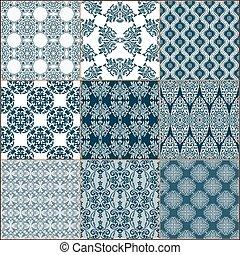 Tiles Floor Ornament Collection - Indigo blue Tiles Floor...