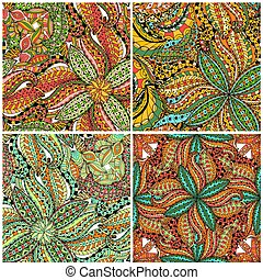 Tiles of Seamless Floral Pattern. Vector illustration. Hand...