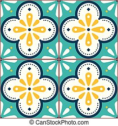 Tiles vector pattern - Azulejo Lisbon retro old tile mosaic, Portuguese seamless design in turqouoise and yellow