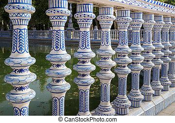 Tilework at Spanish Square in Sevilla, The Plaza de España, Spain