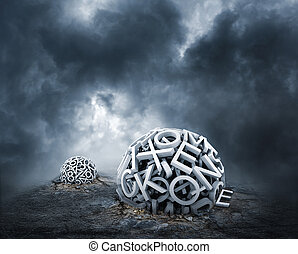 tilfældig, breve, danne, en, sphere, på den slibe