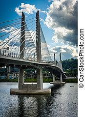 Tilikum Crossing, over the Williamette River in Portland, Oregon.