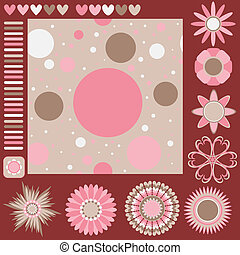 tiling, 結構, 花, 以及, 心