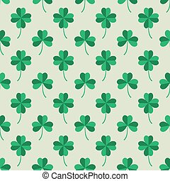 Tiling with Green Clover Leaves - Seamless Pattern Tiling...