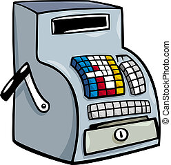 Cartoon Illustration of Old Till or Cash Register Clip Art